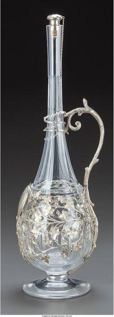 Jarra para clarete de cristal de Baccarat y metal plateado, s. XIX. Procedencia: Francia. 45.7 cm de altura    Vista 1