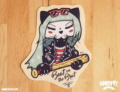 Ramona Punk Rock Black Cat Sticker Black Kitty Ganbatte Black Cats Big Sticker on etsy