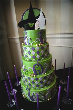 Cake created by Swank Cakes for a Wicked-themed Bat Mitzvah!  Photo by Evan Pike.