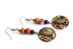 Elephant Earrings India Jewelry Black and Red by MusingTreeStudios, $18.99