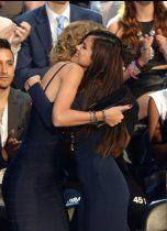 Taylor Swift and Selena Gomez hug at the MTV VMAs on Aug. 25, 2013, in Brooklyn, N.Y.