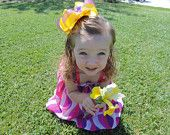Yellow and purple bow for spring. So adorable