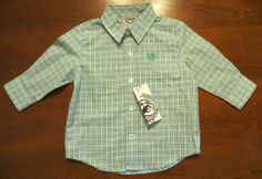 CINCH JEANS SHIRT L/S WESTERN COWBOY GREEN PLAID PRINT NWT BOYS 6-12 MONTHS   $12.99! our prices are WAY BELOW RETAIL! all JEWELRY SHIPS FREE! www.baharanchwesternwear.com baha ranch western wear ebay seller id soloedition