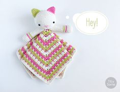 Kitty Lovey Pattern  Security Blanket  Crochet Lovey  Baby