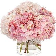 Pink Hydrangea. Now THIS is how you arrange flowers in a vase. Full and low!