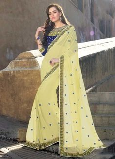 Gorgeous Yellow Embroidery Booti Work Georgette Party Wear Sarees http://www.angelnx.com/Sarees/Party-Wear-Sarees                                                                                                                                                     More