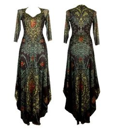 Michal Negrin Long Sleeves Empire Dress Made of Printed Chiffon Lycra, Lace Trim and Swarovski Crystals; Victorian Elegance