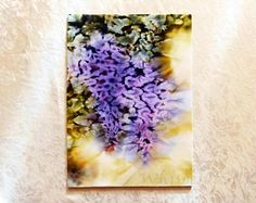 Original art Wisteria flower Painting on textile Abstract painting Modern art Wall decor Small painting Interior decorative art Impressionis