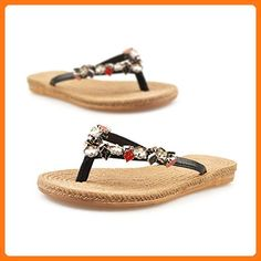 b14076ee46f Aerusi Girls Embellished Straw Woven T Strap Thong Flat Flip Flop Sandals  (US Size 6.5