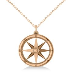 Allurez Nautical Compass Pendant Necklace Plain Metal 14k Rose Gold ($400) ❤ liked on Polyvore featuring jewelry, necklaces, chain pendant necklace, chains jewelry, nautical jewelry, metal jewelry and rose gold pendant necklace