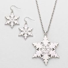 The Rustic Shop - White Snowflake Rhinestone Pendant Necklace and Earring Set, $14.99 http://www.misfitcowgirlboutique.com/