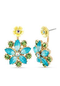 Betsey Johnson Gold-Tone Mixed Faceted Stone Flower Front and Back Earring