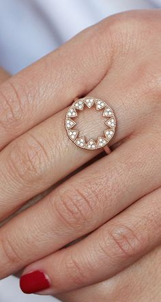 Reach for this sleek starburst disc ring to amp up your LBD or denim and basics. #diamonds #rings #danarebecca