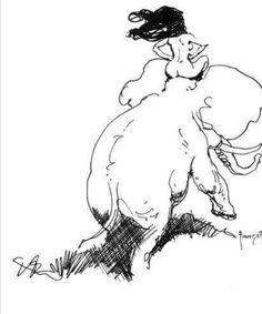 Frank Frazetta Sketch Nude on Elephant