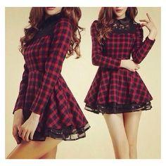 Dress: tartan lace skater red blue ❤ liked on Polyvore featuring dresses, purple skater dress, plaid dress, blue skater dress, red day dress and red lace dress