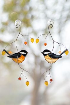 Chickadee stained glass bird suncatcher Mothers Day gift / British birds custom stained glass window hangings anniversary gift for wife … Stained Glass Ornaments, Stained Glass Paint, Custom Stained Glass, Stained Glass Birds, Stained Glass Christmas, Stained Glass Suncatchers, Stained Glass Designs, Stained Glass Panels, Stained Glass Projects