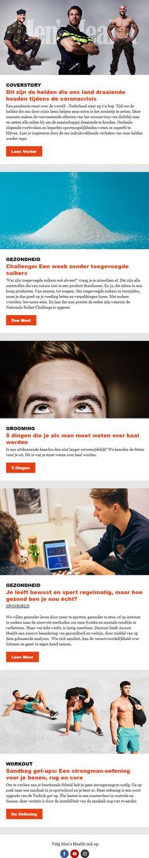 De nieuwsbrief van Men's Health is gemaakt met Basedriver. De titels in oranje zijn opvallend en trekken de aandacht. Software, Marketing