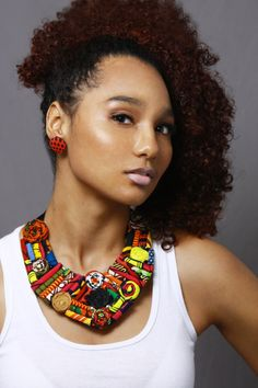 Assorted Floral Multicolored Ankara Statement Neckpiece with free button earrings