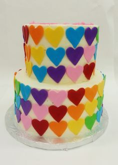 Rainbow Hearts! SO CUTE! Birthday Ideas, Birthday Cake, Rainbow Heart, Hearts, Cakes, Desserts, Food, Birthday Cakes, Meal