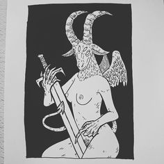 Baphomet for @goatshrine_art who won the giveaway! Gonna send everyone's stuff out tomorrow. by baileyillustration