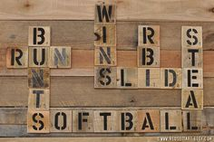 Softball Enthusiast Pallet Art Word Collage Sports Room Wall Decor Choose Lustre Fine Art Print or Gallery Wrapped Canvas - Picmia
