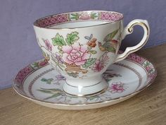 Antique Bird Tea cup and Saucer Tuscan hand by ShoponSherman