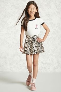 """Forever 21 Girls - A soft knit ringer tee featuring a front """"Chill Babe"""" and milkshake graphics, contrasting ribbed crew neckline, and contrasting short sleeves. Cute Girl Outfits, Little Girl Outfits, Kids Outfits Girls, Stylish Outfits, Fashion Outfits, Preteen Girls Fashion, Kids Fashion, Teen Skirts, Girls Dance Costumes"""