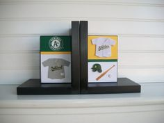 Bookends for Children. Oakland A's . Nursery Room by RessieLillian, $55.00 Would be cute with a superhero theme for Evan's room