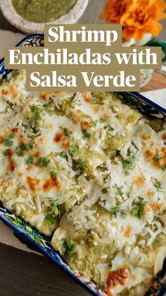 Fish Recipes, Seafood Recipes, Mexican Food Recipes, Dinner Recipes, Cooking Recipes, Ethnic Recipes, Authentic Mexican Recipes, Shrimp Enchiladas, Bon Appetit