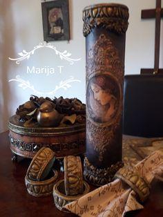 Decoupage Box, Candlesticks, Pillar Candles, Wallpaper, Jars, Bottles, Books, Wooden Chest, Decorated Bottles