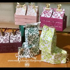 Wood Crates and Milk Cartons....all from Stampin Up Wood Crates Framelits, Wood Words Stamp Set and Fresh Florals DSP Stack. Please contact me for the recipe and directions