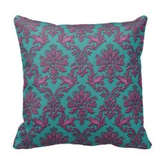 Elegant Teal and Burgundy Damask Throw Pillow. Add an elegant touch to a favorite comfy spot.