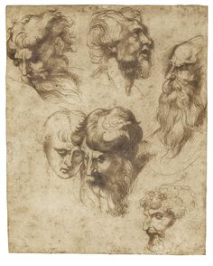 Attributed to Sir Peter Paul Rubens  SIEGEN 1577 - 1640 ANTWERP  STUDIES OF SIX MALE HEADS, AFTER RAPHAEL, Pen and brown ink, one of the heads traced in black chalk, verso, 174 by 139 mm