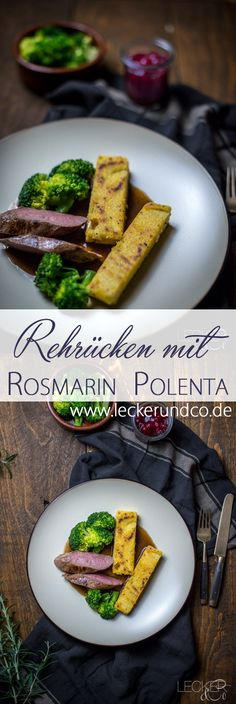 Rehrücken mit Rosmarin-Polenta und Rotwein-Jus