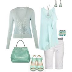 Pale blue spring outfit