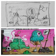 #fbf : the mural in Christchurch (New Zealand) from last year. The sketch is shown actual size. I just need an idea of where it's going and then I'll work it out on the wall. @oiyoustreetart #spectrumstreetart #buffmonster #streetart by buffmonster