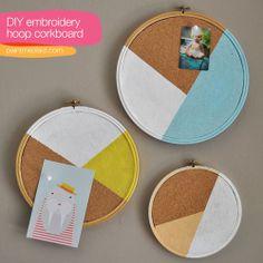 Creative: Eleven Rad Geometric DIYs  (via Embroidery Hoop Corkboard via Colour Me There)