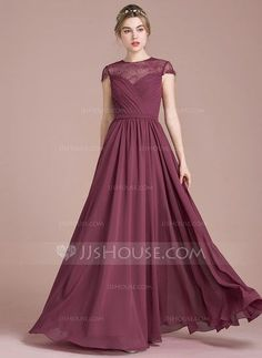 [US$ 117.99] A-Line/Princess Scoop Neck Floor-Length Chiffon Lace Bridesmaid Dress With Ruffle (007104723)