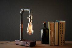 Edison lamp-Rustic home decor-Steampunk lamp-Unique table lamp-Industrial lighting-Housewarming gift for men-Desk lamp-Bedside lamp