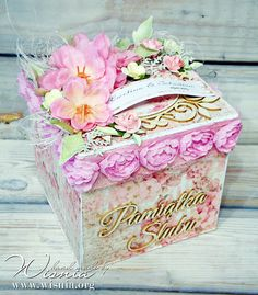 Hand made by Wisnia: Box z Altanką Scrapbook Box, Scrapbooking, Decopage, Exploding Box Card, Diy And Crafts, Paper Crafts, Cake Accessories, Surprise Box, Handmade Card Making