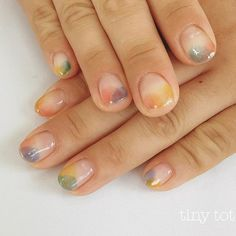 ナチュラルカラフルネイル♡ in 2020 Love Nails, Pretty Nails, My Nails, Nails 2017, Bling Nails, Minimalist Nails, Nail Swag, Water Color Nails, Tribal Nails