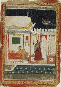 Madhumadhavi Ragini, illustration from a Ragamala (Garland of Melodies) series. Malwa, India ca. Mughal Miniature Paintings, Mughal Paintings, Art And Illustration, Indian Traditional Paintings, India Painting, Harvard Art Museum, Indian Artist, Tribal Art, Cool Art