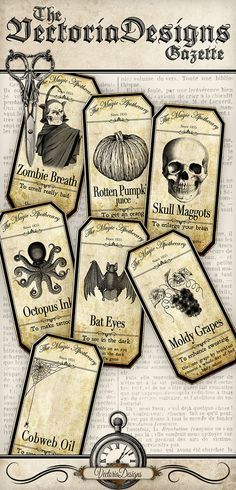 Printable Halloween Apothecary Labels Halloween by VectoriaDesigns