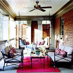 Sleep On It:   Enjoy the sound of crickets and a cool breeze on a summer night with a sleeping porch. You can extend the comforts of home to the space with indoor/outdoor light fixtures, fabrics, and furniture