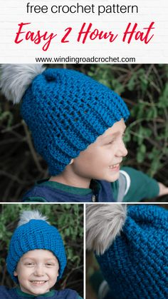 2 Hour Crochet Beanie Free Pattern - Winding Road Crochet Crochet this quick and easy beanie with a free crochet pattern by Winding Road Crochet. It just takes one skein of yarn to make this 2 hour crochet beanie. Beanie Pattern Free, Crochet Beanie Pattern, Headband Pattern, Free Pattern, Crochet Hats For Boys, Crochet Baby Hats, Free Crochet, Crocheted Hats, Headband Crochet