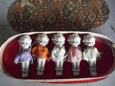 """Vintage 1930s Japan Five Bisque Quintuplets Doll Figures in Box 3 3/4"""" Tall Look"""