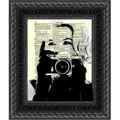 Marilyn Monroe With Camera Marilyn Monroe Art Print Print on Antique... (14 CAD) ❤ liked on Polyvore featuring home, home decor, wall art, dark olive, home & living, home décor, wall décor, wall hangings, antique wall hanging and paper wall art