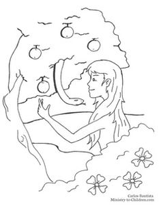 Eve, the Fruit,  and the Serpent Coloring Page