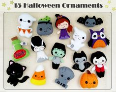 halloween ornaments set of 15 cute halloween ornament felt halloween decor felt toys halloween decorations party