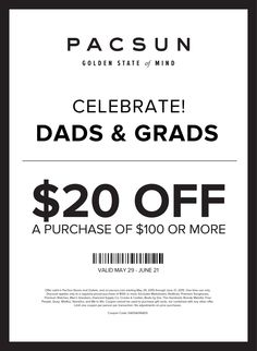 Pinned May 30th: $20 off $100 at #PacSun & PacSun Outlet or online via promo code DADS&GRADS #coupon via The #Coupons App
